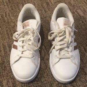 Adidas Advantage Rose Gold 3 Stripes Shoe Sz 7
